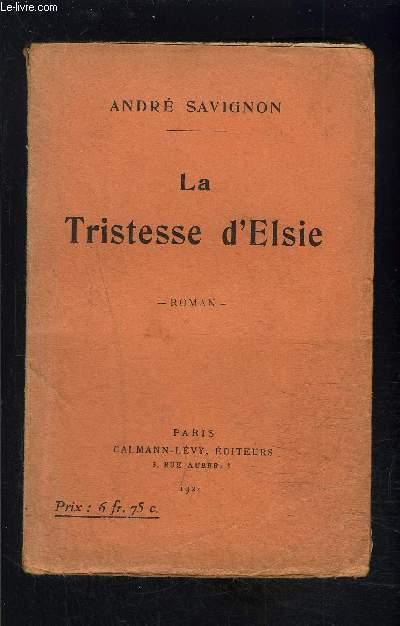 LA TRISTESSE D ELSIE