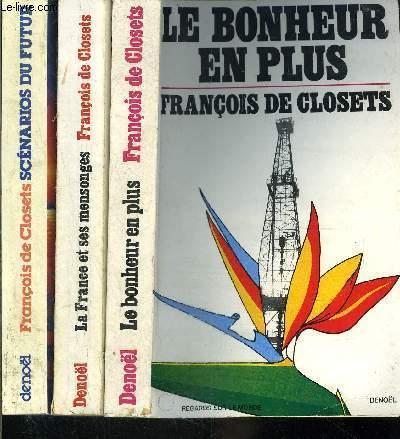 1 LOT DE 2 LIVRES DIFFERENTS : LE BONHEUR EN PLUS- LA FRANCE ET SES MENSONGES- SCENARIOS DU FUTUR