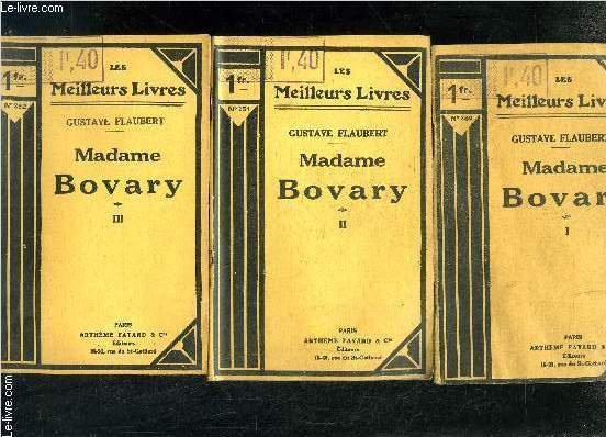 MADAME BOVARY- 3 TOMES EN 3 VOLUMES- 1+ 2+ 3
