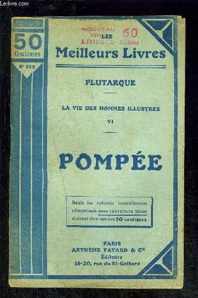 LA VIE DES HOMMES ILLUSTRES 6- POMPEE