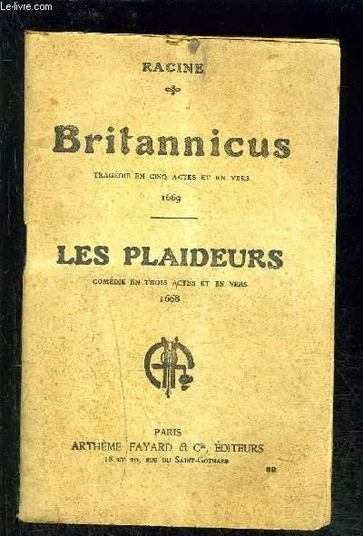 BRITANNICUS- LES PLAIDEURS- VENDU EN L ETAT