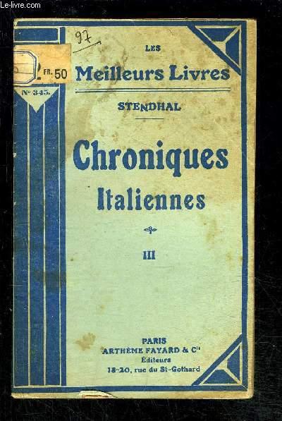 CHRONIQUES ITALIENNES- TOME 3- vendu seul