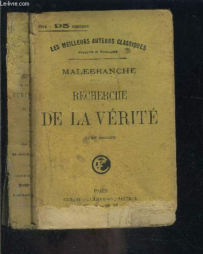 RECHERCHE DE LA VERITE- TOME SECOND VENDU SEUL