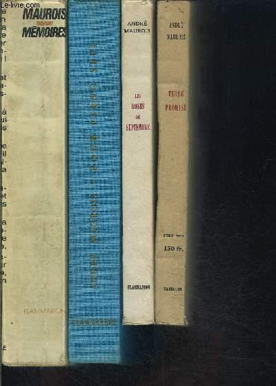 1 LOT DE 4 LIVRES DE ANDRE MAUROIS: MEMOIRES 1885-1967- POUR PIANO SEUL- LES ROSES DE SEPTEMBRE- TERRE PROMISE