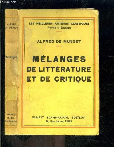MELANGES DE LITTERATURE ET DE CRITIQUE