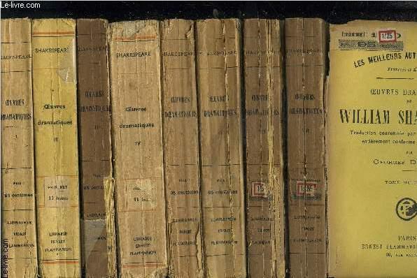 OEUVRES DRAMATIQUES DE WILLIAM SHAKESPEARE- 8 TOMES EN 8 VOLUMES COMPLET- TOME 1: Préface - Vie de Shakespeare - Son Testament - Baptemes, mariages et enterrements des membres de la famille de Shakespeare - Hamlet - Roméo et Juliette - Le songe d'une n...
