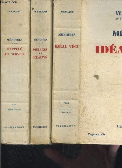 MEMOIRES- 3 TOMES EN 3 VOLUMES- IDEAL VECU- MIRAGES ET REALITE- RAPPELE AU SERVICE