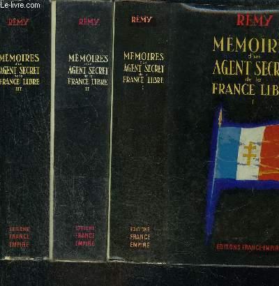 MEMOIRES D UN AGENT SECRET DE LA FRANCE LIBRE- 3 TOMES EN 3 VOLUMES- 1. 18 JUIN 1940- 18 JUIN 1942/ 2. JUIN 1942- NOVEMBRE 1943/ 3. NOVEMBRE 1943- AOUT 1944 / ENVOI DE L AUTEUR