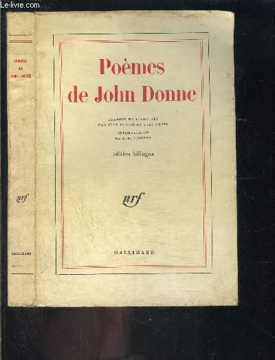 POEMES DE JOHN DONNE / EDITION BILINGUE ANGLAIS FRANCAIS
