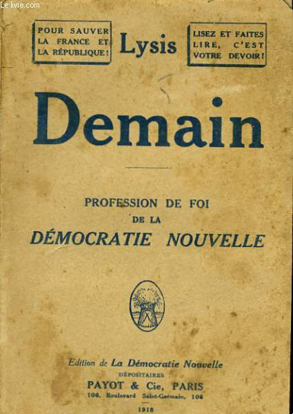 DEMAIN - PROFESISON DE FOI DE LA DEMOCRATIE NOUVELLE
