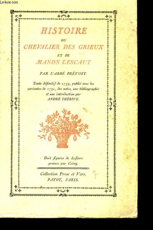HISTOIRE DU CAVALIER DES GRIEUX ET DE MANON LESCAUT