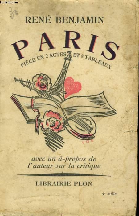 PARIS, PIECE EN 2 ACTES ET 8 TABLEAUX
