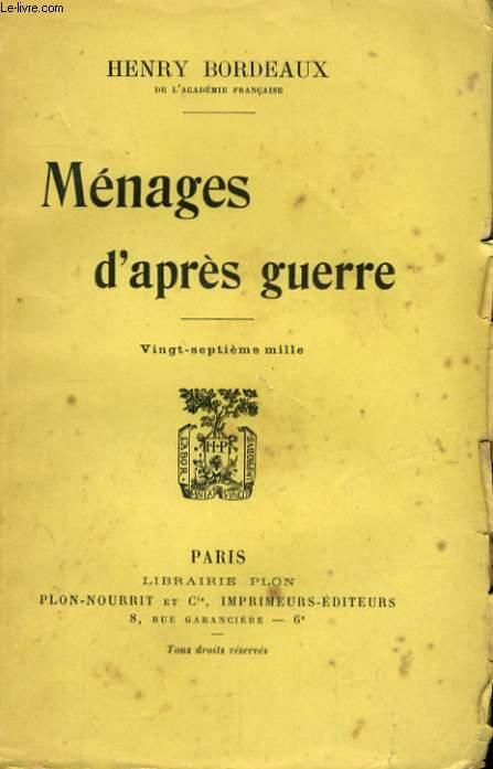MENAGES D'APRES GUERRE