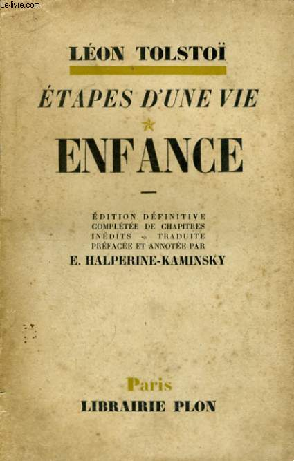 ETAPES D'UNE VIE, TOME 1: ENFANCE
