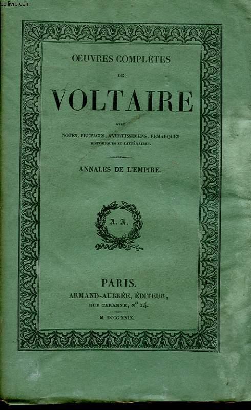 OEUVRES COMPLETES DE VOLTAIRE TOME 19 - ANNALES DE L'EMPIRE