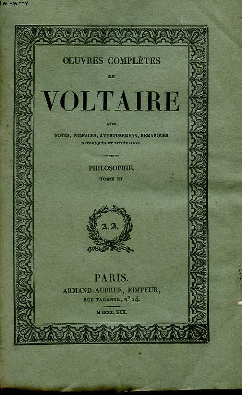 OEUVRES COMPLETES DE VOLTAIRE TOME 28 - PHILOSOPHIE TOME 3