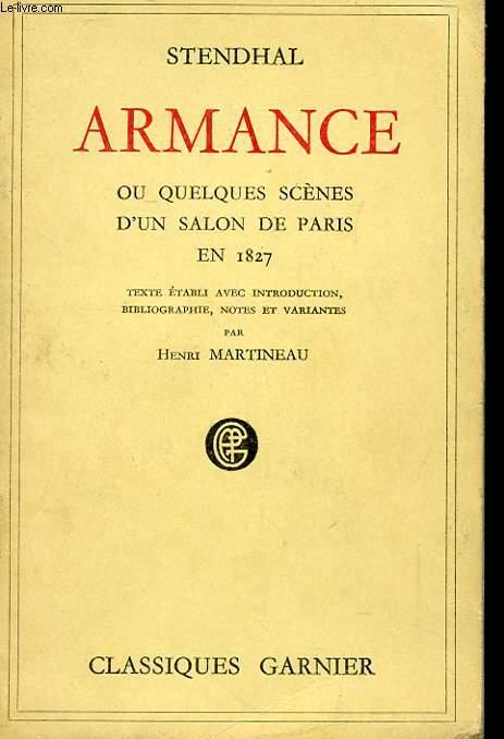 ARMANCE OU QUELQUES SCENES D'UN SALON DE PARIS EN 1827