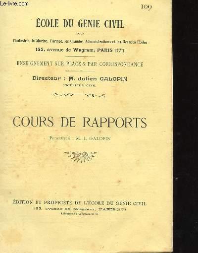 COURS DE RAPPORTS