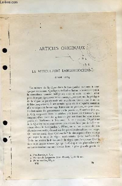 La Viticulture Languedocienne avant 1789.