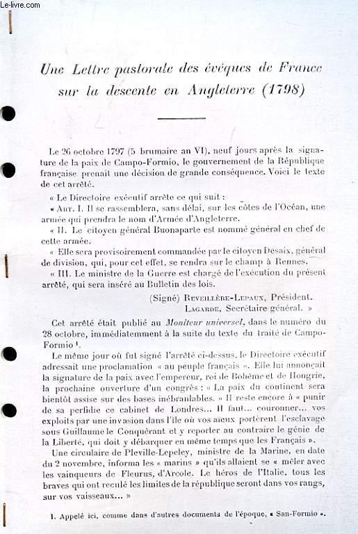 Une lettre pastorale des Evêques de France sur la descente en Angleterre, 1798 (Ouvrage photocopié)