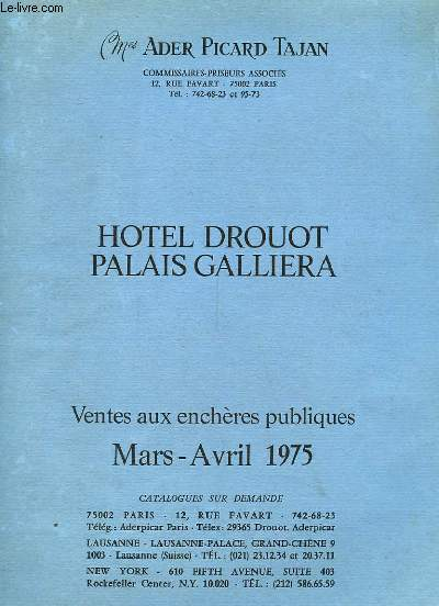 CATALOGUE DE VENTE AUX ENCHERES de Mars-Avril 1975