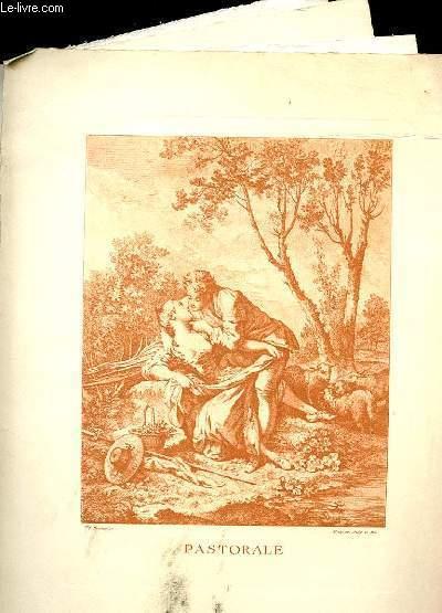 SANGUINE DE BOUCHER - Lot de 3 gravures + 1 gravure de Watteau