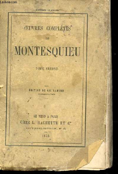 OEUVRES COMPLETES DE MONTESQUIEU TOME SECOND