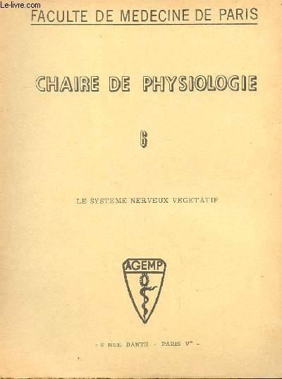 CHAIRE DE PHYSIOLOGIE N° 6 LE SYSTEME NERVEUX VEGETATIF