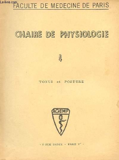 CHAIRE DE PHYSIOLOGIE N° 4 TONUS ET POSTURE