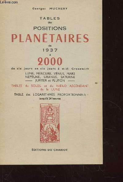 TABLES ET POSITIONS PLANETAIRES DE 1937 A 2000 DE SIX JOURS EN SIX JOURS A MIDI GREENWICH. TABLES DU SOLEIL ET DU NOEUD ASCENDANT DE LA LUNE. TABLES DES LOGARITHMES PROPORTIONNELS JUSQU'A 24 HEURES.