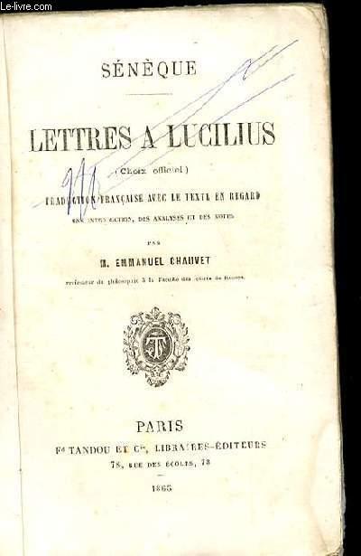 LETTRES A LUCILIUS (CHOIX OFFICIEL)