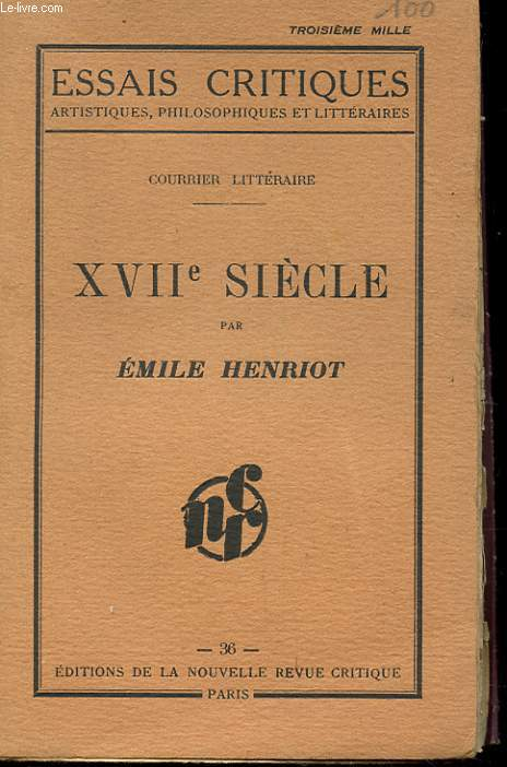 COURRIER LITTERAIRE. XVII EME SIECLE