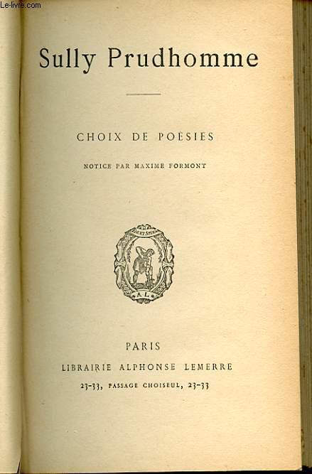 CHOIX DE POESIES. NOTICE PAR MAXIME FORMONT