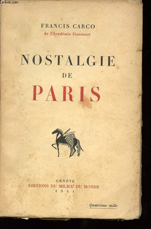 NOSTALGIE DE PARIS