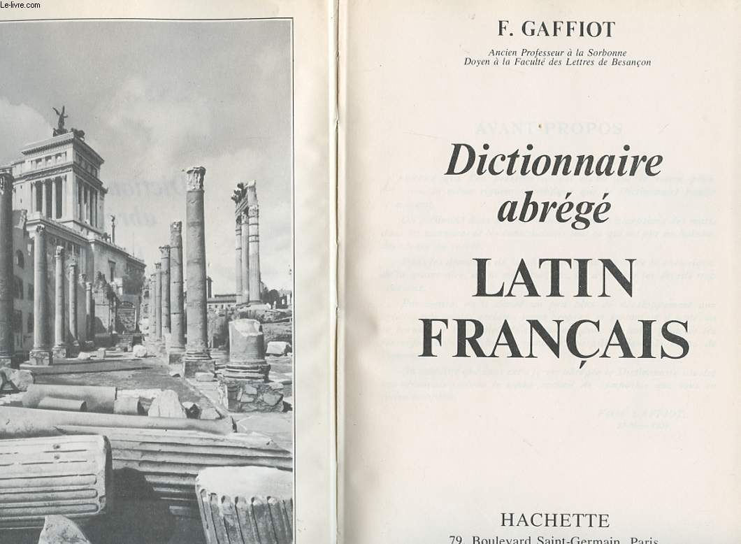 DICTIONNAIRE ABREGE LATIN FRANCAIS