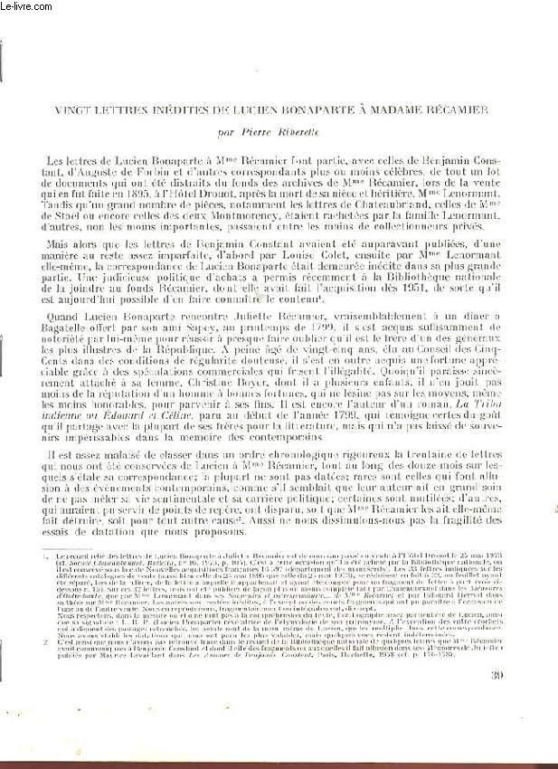 VINGT LETTRES INEDITES DE LUCIEN BONAPARTE A MADAME RECAMIER.