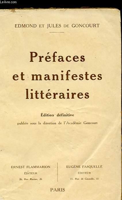 PREFACES ET MANIFESTES LITTERAIRES.