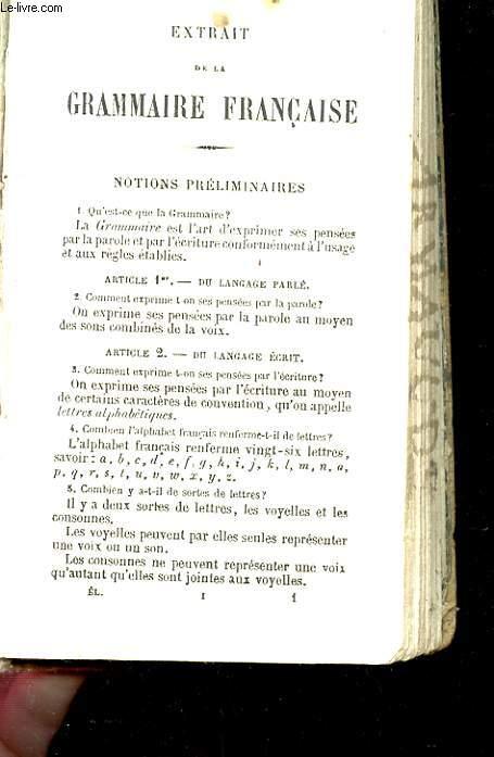EXTRAIT DE LA GRAMMAIRE FRANCAISE.