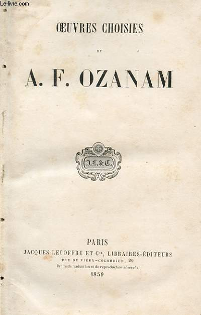 OEUVRES CHOISIES DE A.F. OZANAM