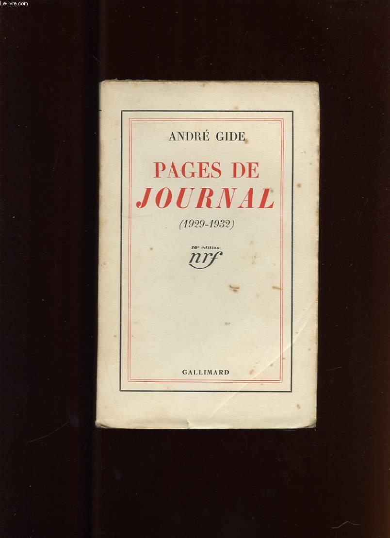 PAGES DE JOURNAL (1929-1932)