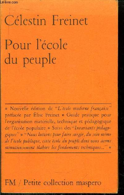 POUR L'ECOLE DU PEUPLE- PETITE COLLECTION MASPERO N°51