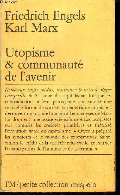 UTOPISME & COMMUNAUTE DE L'AVENIR- PETITE COLLECTION MASPERO N°160