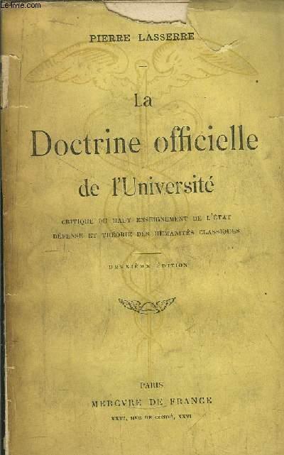 LA DOCTRINE OFFICIELLE DE L'UNIVERSITE