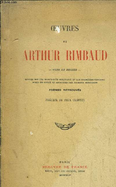 OEUVRES DE ARTHUR RIMBAUD - VERS ET PROSES