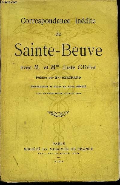 CORRESPONDANCE INEDITE DE SAINT-BEUVE AVEC M. ET MME JUSTE OLIVIER
