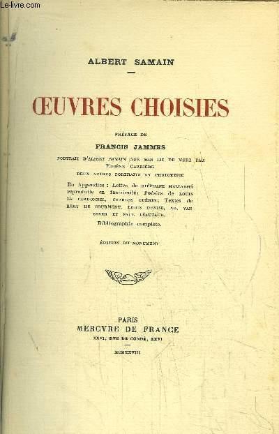 OEUVRES CHOISIES - Portrait d'A. SAMAIN sur son lit de mort par E. CARRIERE - deux autres portraits en phototypie - En appendice : Lettre de S. MALLARME reproduite en Fac-similé - Poésies de L. LE CARDONNEL, C. GUERIN -Textes de R. DE GOURMONT, L. DENISE.