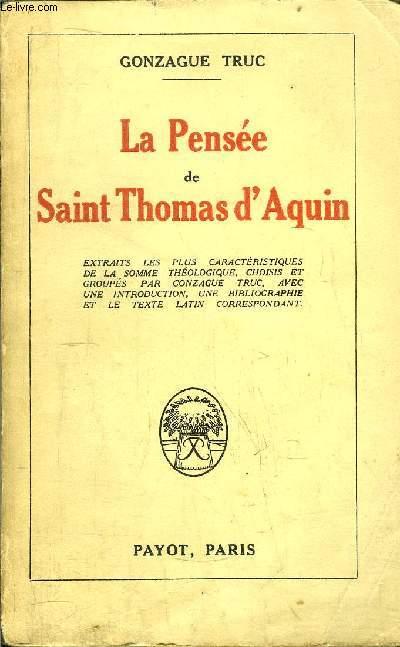 LA PENSEE DE SAINT THOMAS D'AQUIN