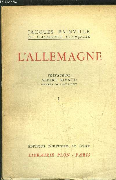 COLLECTION BAINVILLIENNE - TOME V  - L'ALLEMAGNE TOME I -