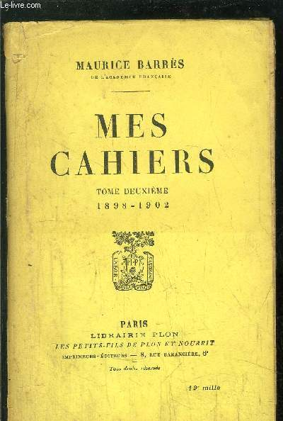 MES CAHIERS - TOME II - 1898-1902