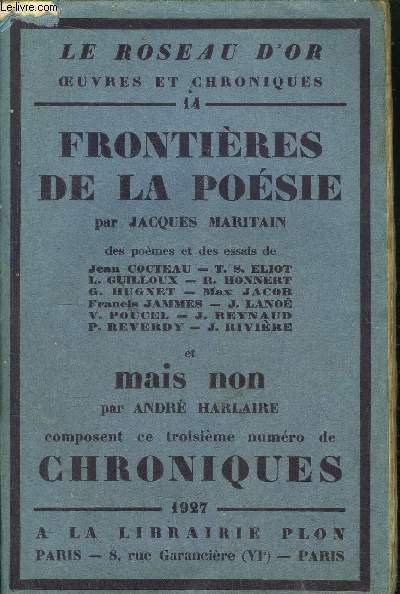 FRONTIERES DE LA POESIE